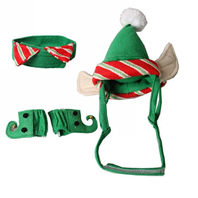 ZTL 4pcs/Set Dog Cat Christmas Costume Accessories Hat & Neck Wear & Leg Sleeve Party Cosplay Pet Supplies costume  Kaulana Pets