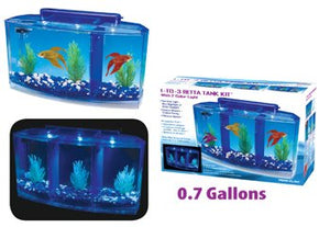 Penn Plax Deluxe Triple Betta Bow Aquarium Tank, 0.7-Gallon Aquarium  Kaulana Pets