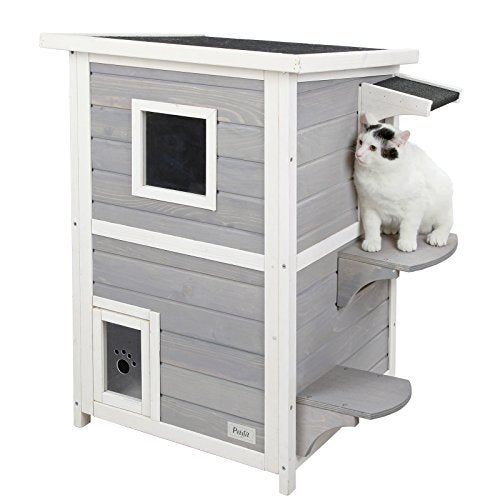 Petsfit 2-Story Weatherproof Outdoor Kitty Cat House/Condo/Shelter with Escape Door - Kaulana Pets