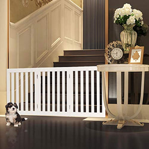 Giantex 24'' Wooden Dog Gate, Configurable Freestanding Pet Gate for Small to Medium Sized Pets, Step Over Fence, Foldable Panels for House Doorway Stairs Extra Wide Pet Safety Fence (60'' W, White) - Kaulana Pets
