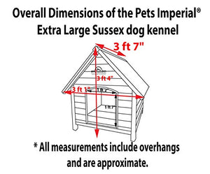 Pets Imperial Extra Large Wooden Sussex Dog Kennel With Removable Floor For Easy Cleaning - Kaulana Pets
