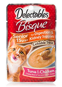 Hartz Delectables Bisque Lickable Cat Treats for Senior Cats 15+ years, Tuna & Chicken, 1.4 oz, Pack of 12 cat treats  Kaulana Pets