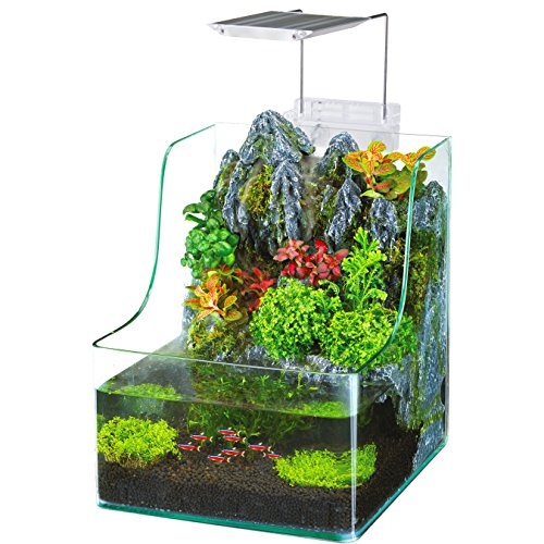 Penn Plax Aqua Terrarium Planting Tank With Aquarium for Fish, Waterfall, LED Light, Filter, Desktop Size, 1.85 Gallon