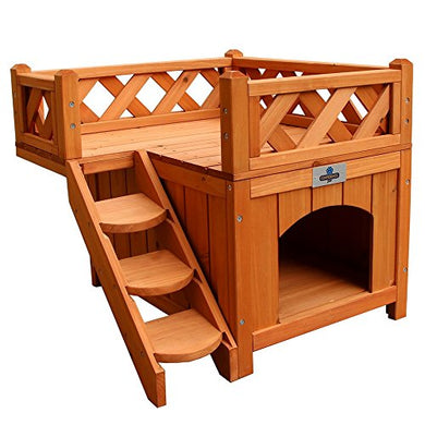 Confidence Pet Wooden Dog House/Kennel with Balcony - Kaulana Pets