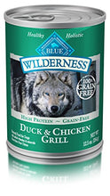 Blue Buffalo Wilderness High Protein Grain Free, Natural Adult Wet Dog Food, Duck & Chicken Grill 12.5-Oz Can (Pack Of 12) - Kaulana Pets