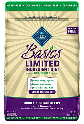 Blue Buffalo Basics Limited Ingredient Diet Grain Free, Natural Indoor Mature Dry Cat Food, Turkey & Potato 11-lb - Kaulana Pets