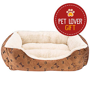 Rectangle Pet Bed with Dog Paw Printing - Kaulana Pets