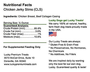 Lucky Premium Treats Lucky Slims Chicken Jerky Dog Treats All Natural Dog Chews - Gourmet Jerky Sticks 6 Count - Chicken + Sweet Potato - Kaulana Pets