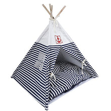 Pet Teepee Navy Stripe Style for Little Dogs and Cats - Kaulana Pets