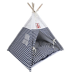 Pet Teepee Navy Stripe Style for Little Dogs and Cats dog house  Kaulana Pets