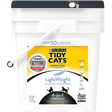 Purina Tidy Cats LightWeight 4-in-1 Strength Clumping Litter for Multiple Cats - (1) 17 lb. Pail Cat Training  Kaulana Pets