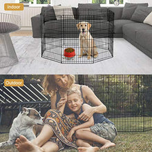 BestPet 24 Tall Foldable Dog Playpen Crate Fence Pet Kennel Play Pen Exercise Cage 8 Panel Black - Kaulana Pets