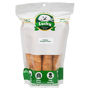 Lucky Premium Treats Chicken Wrapped Rawhide Dog Treats, All Natural Gluten Free Dog Treats, Bullsticks for Large Dogs, 6 Chews - Kaulana Pets