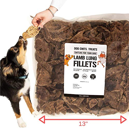Lamb Lung Fillets for Dogs - Dog and Puppy Chews | Huge Bag! | Made in USA | All-Natural Treats | Crispy not Crumbly | Large and Small Dogs | Smoky Flavor Dogs Love |10 oz. - Kaulana Pets