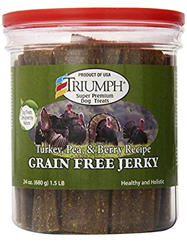 Triumph Dog Turkey, Pea, & Berry Grain Free Jerky, 24-Ounce [2-Pack] - Kaulana Pets