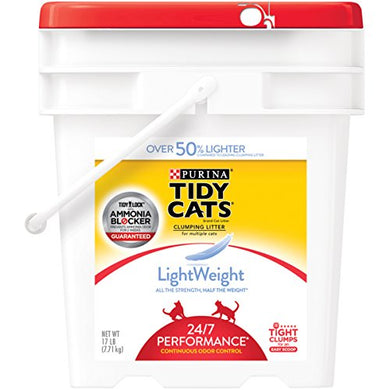 Purina Tidy Cats LightWeight 24/7 Performance Clumping Litter for Multiple Cats - (1) 17 lb. Pail Cat Training  Kaulana Pets
