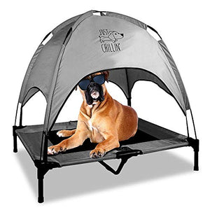 Floppy Dawg Just Chillin' Elevated Dog Bed | Medium and Large Size Dog Cots in a Variety of Colors | Removable Canopy for Indoor or Outdoor Use | Lightweight and Portable | Let Your Dog Chill in Style - Kaulana Pets