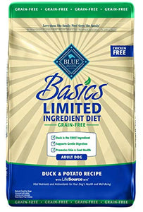 Blue Buffalo Basics Limited Ingredient Diet, Grain Free Natural Adult Dry Dog Food, Duck & Potato 22-lb - Kaulana Pets