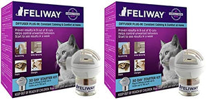 Feliway 2 Pack of Plug-in Calming Diffuser Starter Kits for Cats, Contains 1 Diffuser and 1 Refill Per Pack - Kaulana Pets