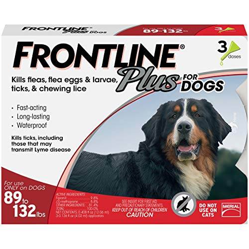 Frontline Plus for Dogs Extra Large Dog (89 to 132 pounds) Flea and Tick Treatment, 3 Doses - Kaulana Pets