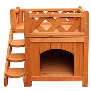 "21"" Confidence Pet Wooden Dog House Living House Kennel with Balcony Wood Color dog house  Kaulana Pets"
