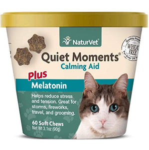 NaturVet -Quiet Moments Calming Aid for Cats Plus Melatonin - 60 Soft Chews | Helps Reduce Stress & Promote Relaxation | Great for Storms, Fireworks, Travel & Grooming - Kaulana Pets