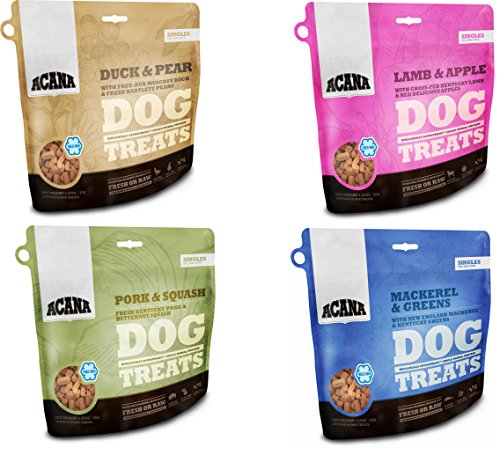 Acana Singles Dog Treats - Variety Pack of 4 (1-Duck and Pears, 1-Lamb and Apple, 1-Mackerel and Greens, and 1-Pork and Squash) 1.25oz Each - Kaulana Pets