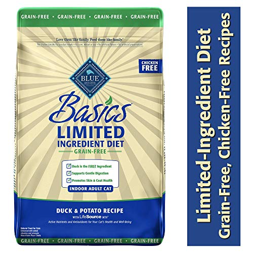 Blue Buffalo Basics Limited Ingredient Diet Grain Free, Natural Indoor Adult Dry Cat Food, Duck & Potato 11-lb - Kaulana Pets
