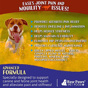 Raw Paws Hip and Joint Supplement for Dogs & Cats, 5-oz Powder - New Zealand Green Lipped Mussel for Dogs - Pet Glucosamine Chondroitin for Dogs + Turmeric Curcumin, Anti Inflammatory for Dogs & Cats - Kaulana Pets