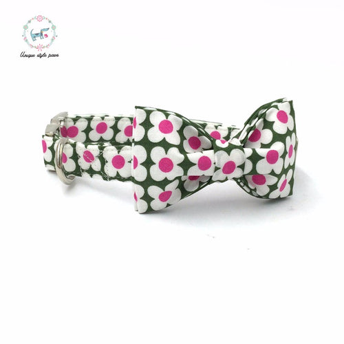Premium Quality Green and Pink Flower Collar, Bow Tie and Leash Combo collar  Kaulana Pets