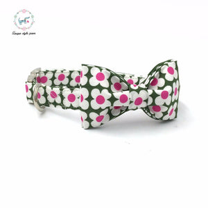 Premium Quality Green and Pink Flower Collar, Bow Tie and Leash Combo - Kaulana Pets