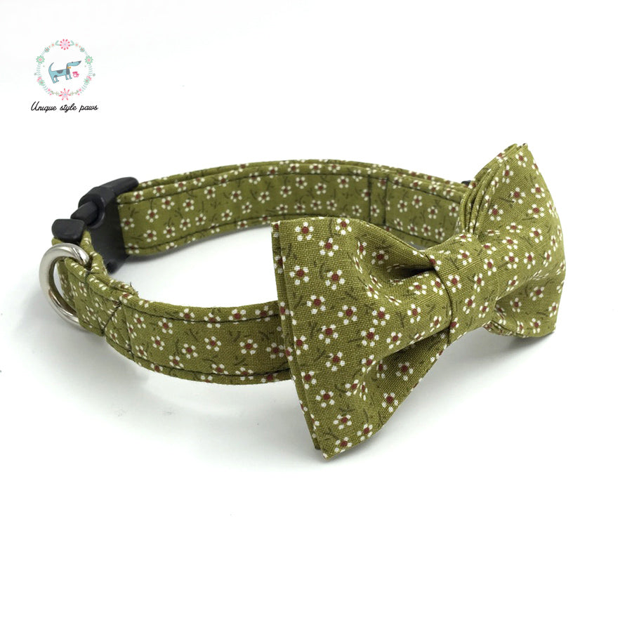 Premium Quality Country Flower Collar, Bow Tie and Leash Combo - Kaulana Pets