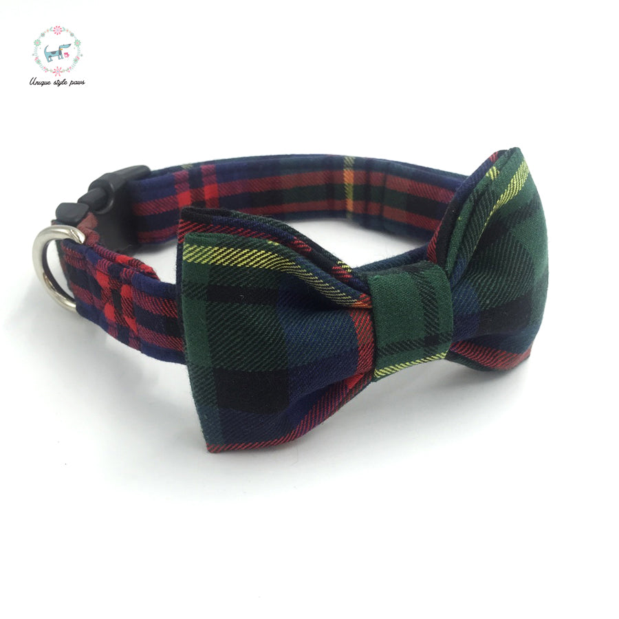 Premium Quality Green Lattice of England Collar and Bow Tie - Kaulana Pets