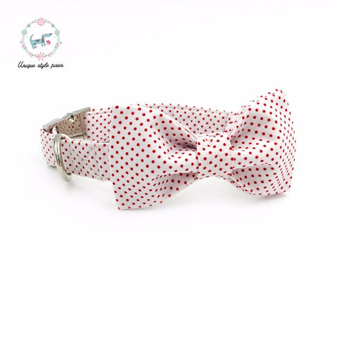 Premium Quality Red Polka Dot Collar, Bowtie and Leash Combo collar  Kaulana Pets