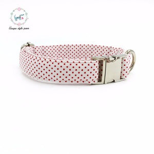 Premium Quality Red Polka Dot Collar, Bowtie and Leash Combo - Kaulana Pets