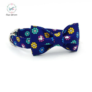 Premium Quality Blue Flower Burst Collar, Bow Tie and Leash Combo collar  Kaulana Pets