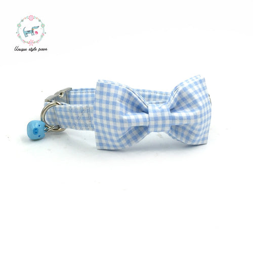 Premium Quality Light Blue Checkerboard Collar, Bow Tie and Leash Combo collar  Kaulana Pets