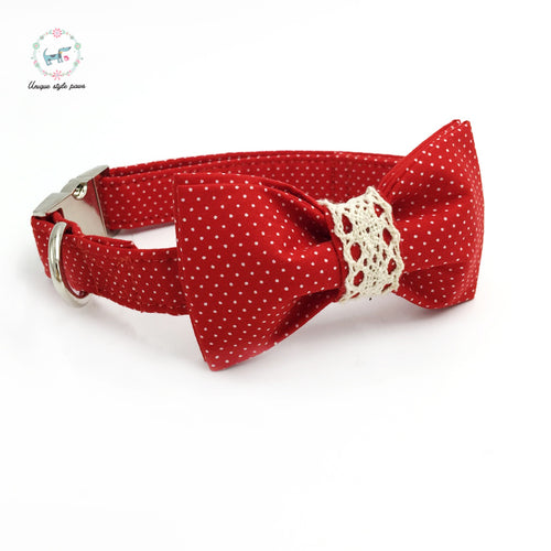 Premium Quality Red with White Polka Dot Vintage Collar, Bow Tie and Leash Combo collar  Kaulana Pets