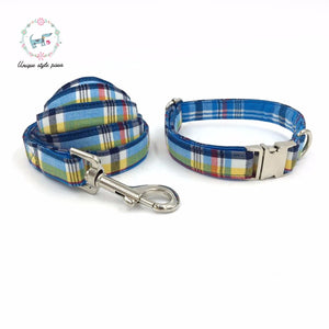 Premium Quality Blue and Yellow Plaid Collar, Bow Tie and Leash Combo collar  Kaulana Pets