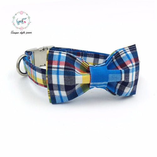 Premium Quality Blue and Yellow Plaid Collar, Bow Tie and Leash Combo - Kaulana Pets