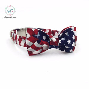 Premium Quality Stars and Stripes Collar, Bow Tie and Leash Combo collar  Kaulana Pets
