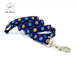 Premium Quality Blue Flower Burst Collar, Bow Tie and Leash Combo - Kaulana Pets