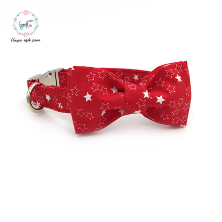 Premium Quality Red with White Stars Collar, Bow Tie and Leash Combo collar  Kaulana Pets