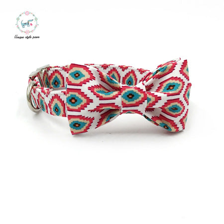 Premium Quality South Western Style Collar, Bow Tie and Leash Combo collar  Kaulana Pets
