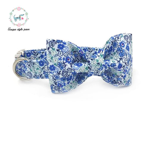 Premium Quality Blue Flower Collar, Bow Tie and Leash Combo collar  Kaulana Pets
