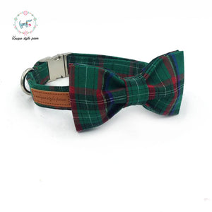Premium Quality Forest Green Plaid Collar, Bow Tie and Leash Combo - Kaulana Pets