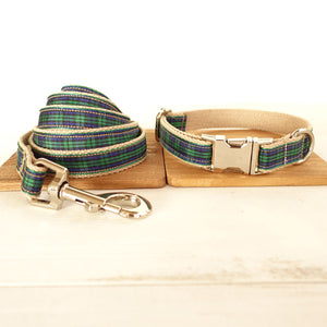 MUTTCO retailing unique style collar THE FOREST PLAID cotton dog collar 5 sizes - Kaulana Pets