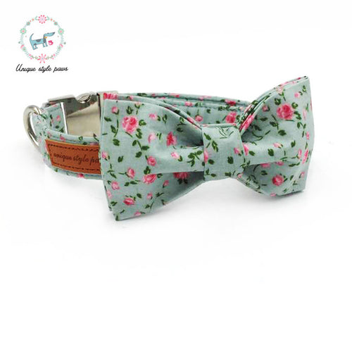 Premium Quality Petite Rose Collar, Bow Tie and Leash Combo collar  Kaulana Pets