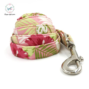 "Premium Quality ""Pink Micky"" Tropical Print Collar, Bow Tie and Leash Combo - Kaulana Pets"
