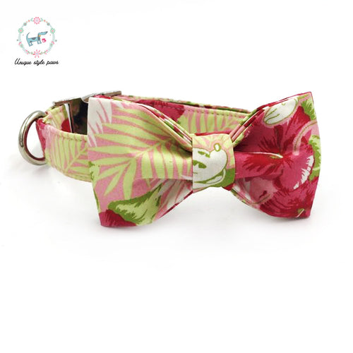 "Premium Quality ""Pink Micky"" Tropical Print Collar, Bow Tie and Leash Combo collar  Kaulana Pets"